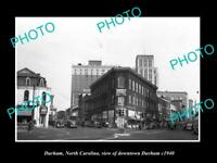 OLD LARGE HISTORIC PHOTO OF DURHAM NORTH CAROLINA, VIEW OF THE DOWNTOWN c1940