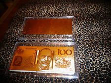 *24 K GOLD  AUSTRALIA 100 DOLLAR GOLD BANKNOTE* COMES IN ACRYLIC,SLAB HOLDER-NEW