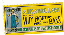 Vintage Poster Stamp DES MOINES RIVER VALLEY PROJECT Wily Fighting Pike Bass #IM