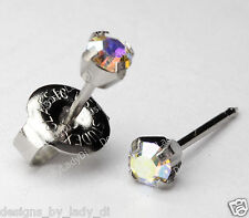 Silver Ear Piercing Earrings 3mm Rainbow Crystal Stud Stainless Studex System 75