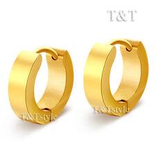 TRENDY T&T Plain 14K GP Gold Stainless Steel Hoop Earrings EH01J(4x9)