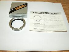 NEW GENUINE KONICA BRAND LENS MOUNT ADAPTER for M42 PENTAX, PRAKTICA LENSES