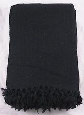 "Black Settee Sofa Throw Heavyweight 100% Cotton Herringbone Design 90"" x 100"""