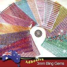 750pcs X 3mm Assorted Colours Rhinestone Gems Self Adhesive Stick on Crystals