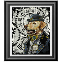 LABRADOR Dog Print Vintage Dictionary Page Wall Art Picture Steampunk Animal