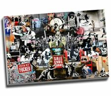 Banksy Collage Montage Collection Canvas Print Wall Art Large 30x20 Inches A1