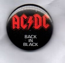 ACDC Back In Black BUTTON BADGE - CLASSIC ROCK  HEAVY METAL  25MM Pin AC/DC