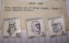 SPAIN 1966 STAMP SET SPANISH WRITERS MNH LOT 203
