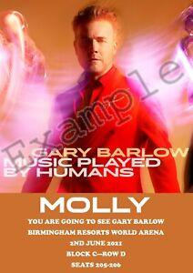 Gary Barlow Tour Personalised Ticket Gift