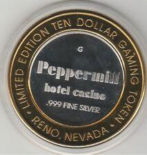 1998 Peppermill Reno NV Casino G Mint .999 Fine Silver $10 Casino Token