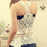 Women Crochet Pierced Lace Back Sleeveless T-shirt Tank Top Vest Cami Hollow-out