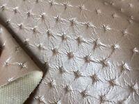 Kunstleder Meterware Strass gesteppt & leicht perforiert Creme Beige (Perle)