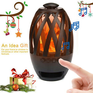 Wireless Bluetooth Supper Bass Speaker Outdoor Portable LED Flame Light TF Slot