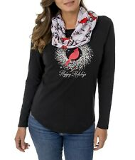 New Happy Holidays Shirt With Scarf or Women's Holiday Turtleneck