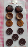 11 Large Brown Mixture Pairs Vintage Art Deco Buttons 25 - 34mm Craft Sewing
