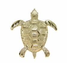 sólido 14k ORO AMARILLO HAWÁI Talla Diamante Sea Turtle Pendiente 26.70mm