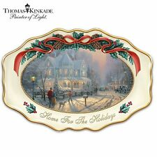 "THOMAS KINKADE ""Home For The Holidays"" 25th Anniversary Christmas Platter  W/COA"