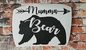 MUMMA BEAR vinyl decal sticker mirror wall car shop 29x21cm UV & WATERproof