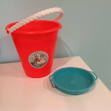 VINTAGE RETRO SAND BEACH PAIL BUCKET SIFTER RED  TURQUOISE 70s 80s CAT SWAN TOY
