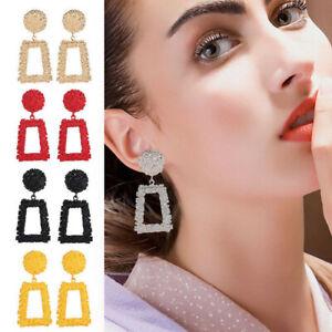 NEW Square Large Geometric Earrings Gold Silver Black Metal Dangle Trendy