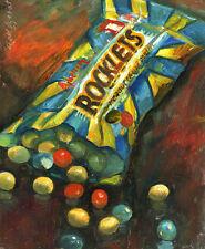 "Rockets Chocolate Candies 8""x10"" Original oil on panel  Hall Groat Sr."