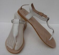100% MOROCCAN LEATHER  TOE POST  SANDALS * WHITE  * 5 SIZES
