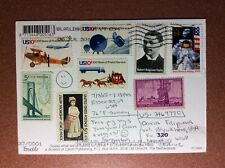 Old photo postcard + 8 mail stamps (USA MOON 1969) 1989 Pig napkin dinner table