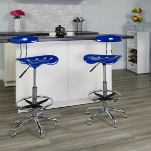 Vibrant Nautical Blue and Chrome Drafting Stool with Tractor Seat