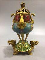 Chinese Antique Cloisonne carved dragon turtle crane incense burner