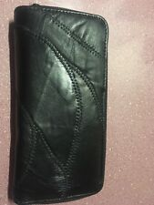 New Black Leather Wallet Zip-around Lots Of Compartments Free Shipping