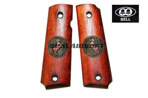 BELL Real Wood 1911 Pistol Grip Cover w/ CT Logo For KJ KP-07 GBB Airsoft OAK B