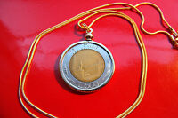 "Italy 500 Lire Classic Coin Pendant on an 18"" 18k Gold Filled Round Snake Chain"