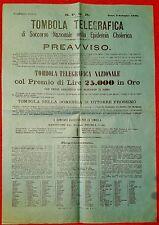 2210-ROMA,TOMBOLA TELEGRAFICA DI SOCCORSO NAZIONALE NELL' EPIDEMIA COLERICA,1886