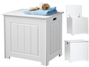 PORTLAND STORAGE CHEST WHITE WOOD BATHROOM CABINET & HINGED LID LAUNDRY BASKET