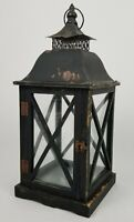 Vintage Wooden Metal Farmhouse Lantern Pillar Candle Holder Rustic 21""