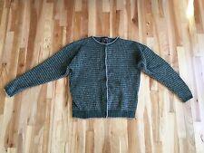 WOOLRICH Women's L Wool Birdseye Cardigan Sweater - Green & Beige