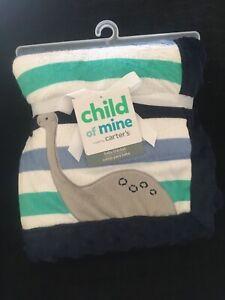 Carters Child of Mine Dinosaur Stripe Blanket Blue White Green Minky Sherpa NEW