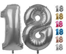 Zahlenballon Nummer 18 silber 86 - 100cm Luftballons Folienballon Geburtstag XXL