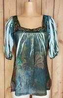 B.L.E.U. Womens Size Small 3/4 Sleeve Shirt Embellished Square Neck Tie Dye Top