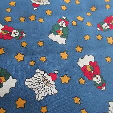 Christmas BLUE santa toss Leslie Beck cotton fabric BTHY half yard cut
