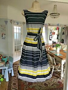 Worn Once Size 14 DICKINS & JONES Navy Stripe Cotton Fit & Flare Dress Tulle *