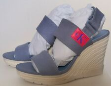 NEW Calvin Klein Jeans Lacey Canvas Wedge Sandals Blue Womens Size 6 RRP £89