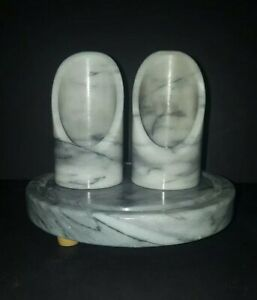 Gray Marble Swirl 3 Piece Candle Holder Set