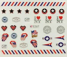 Nail Art 3D Decal Stickers USA UK Red White & Blue I Heart NYC E267