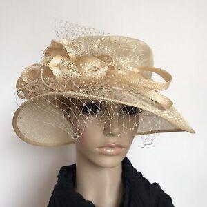 Ladies Beige Veil Elegant Organza Formal Race Wedding Melbourne Cup Hat H362