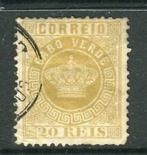 PORTUGAL CABO VERDE;  1877 early classic Crown Type used 20r. value