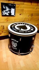 Upcycled *MOTORHEAD* Bass Drum Coffee/Side Table with storage inside *