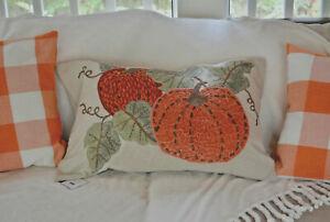 Pottery Barn VELVET PICKSTITCH PUMPKIN Pillow Cover 16x26 Lumbar Sold out