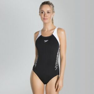 Speedo Boom Splice Muscleback Swimsuit Swimming Costume - Black/White / UK 10