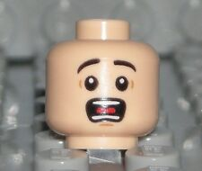LEGO Light Flesh Farmer Super Heroes Minifigure Head Surprised Open Mouth NEW